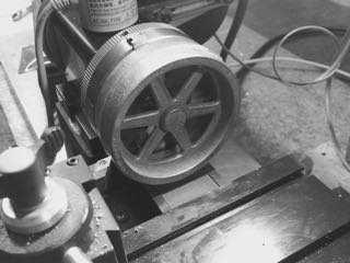 Flywheel in the 3 jaw chuck.jpg