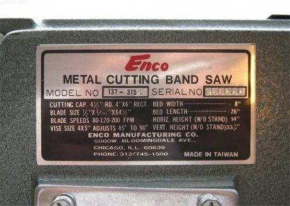 Enco / RF-128 4x6 Bandsaw Mods | The Hobby-Machinist