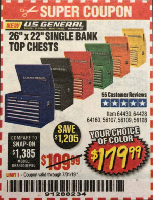 "WTK Anyone have coupon for Harbor Freight 26"" single bank"