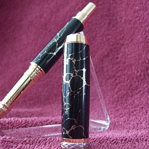 Love the look of this Triton style pen made with black & gold matrix poly resin.