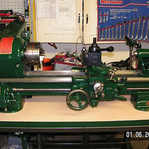 Southbend 10K bench lathe converted to underdrive.  note tension handle and motor at bottom left of pic
