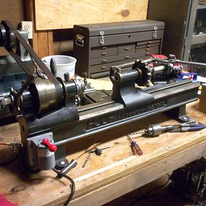 4NS Precision Hjorth Lathe with a collet closer and drilling tail stock.