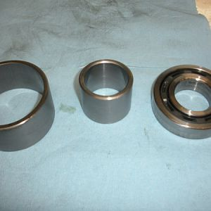 Top of bearing set with inner bearing spacer and outer spacer.