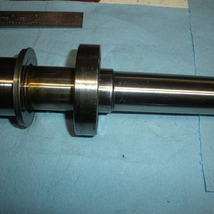 The spindle with the dirt shield and lower bearing. Just after the spacers and top bearing from the set came off.
