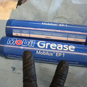 Time to pack the gear cavity with Grease! 2hp versions take two tubes.  I used Mobil EP 1 grease
