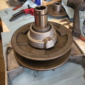 View one after installing the spindle pulley hub assembly.