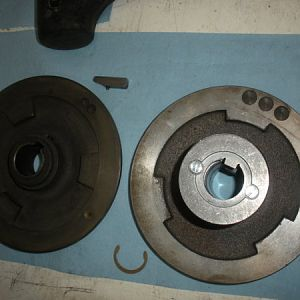Next the motor fixed pulley and the variable pulley are to be installed. The variable disk on the right has been rebuilt/