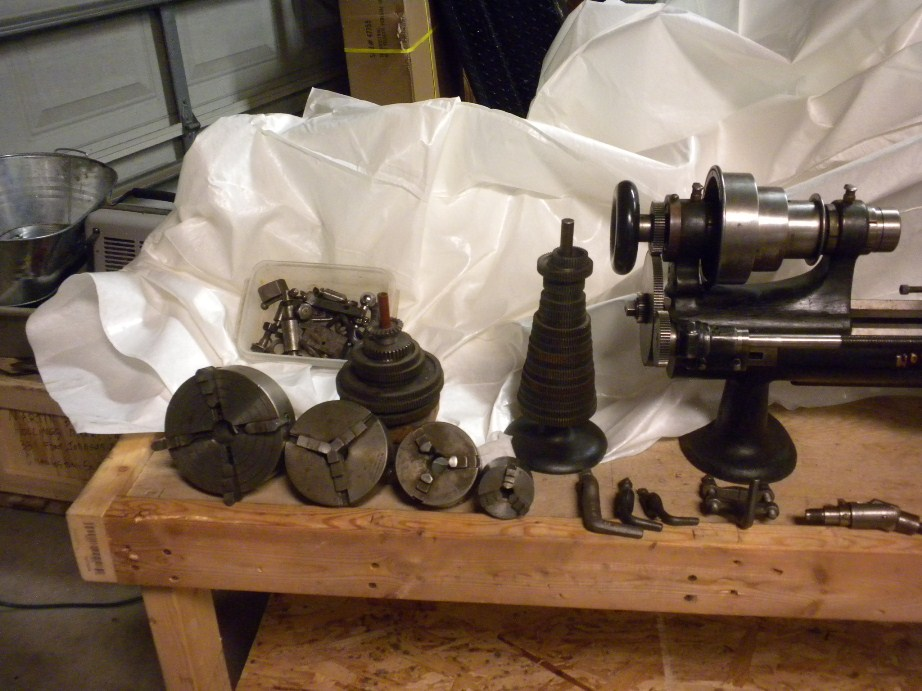 Restored Screw cutting Sloan & Chace 5-1/2 lathe with attachments.